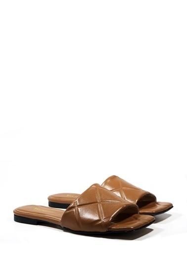 Nemesis Shoes Nemesis Shoes Gerçek Deri Kadın Terlik Taba